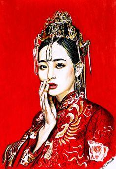 Geisha. Pastel.