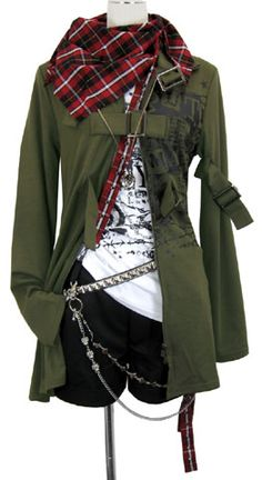 Red or black/white scarf, green army jacket, white graphic t-shirt (probably one with a black/gray pattern)
