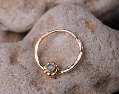 SEPTUM RING / #Septum / #EAR /Cartilage 14 K Gold filled with 2mm synthetic Opal. Handcrafted | Ben's Jewelry Creations