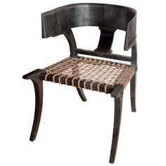 Klismos Lower Back Chair in Black Lizard | See more antique and modern Armchairs at https://www.1stdibs.com/furniture/seating/armchairs