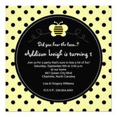 Bumble Bee Polka Dots- Birthday Invitation