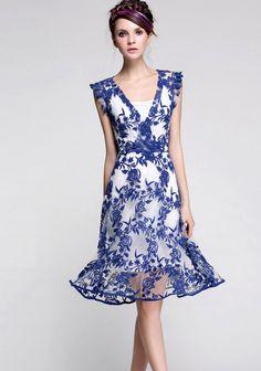 Blue Jacquard V Neck Gauze Hem Dress