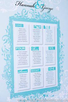 Wedding stationery table plan. www.fuschiadesigns.co.uk