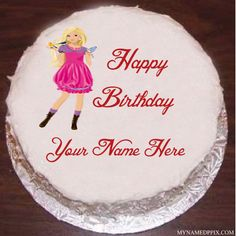 Barbie Doll Birthday Cake With Name Image Heart Birthday Cake, Birthday Cake Writing, Birthday Wishes Cake, My Sister Birthday, Birthday Cake With Candles, Happy Birthday Cakes, Birthday Cake Girls, Bday Cake Images, Birthday Cake Pictures