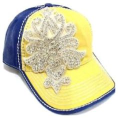 Fleur De Lis Yellow/Blue Rhinestone Baseball Cap