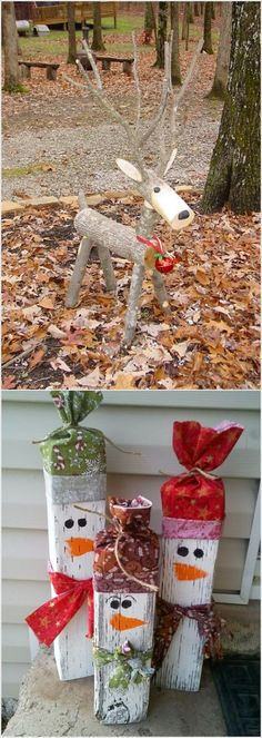 Weihnachtsdekoration These wooden DIY outdoor winter and Christmas decorations are adorable! Noel Christmas, Winter Christmas, Christmas Wreaths, Christmas Ornaments, Christmas Porch, Diy Christmas Reindeer, Country Christmas, Christmas Christmas, Christmas Projects