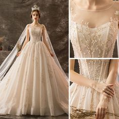 Luxury / Gorgeous Champagne Wedding Dresses 2019 A-Line / Princess Scoop Neck Beading Crystal Lace Flower Sequins Sleeveless Backless Watteau Train Royal Train backless wedding dresses Royal Wedding Guests Outfits, Royal Wedding Themes, Royal Wedding Gowns, Western Wedding Dresses, Royal Weddings, Wedding Tiaras, Woodland Wedding Dress, Renaissance Wedding Dresses, Royal Theme