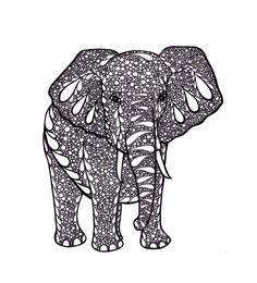 Elephant Art, Zentangle Inspired Art Print, PDF Printable Art, Ink Drawing, Black and White via Etsy Zentangle Elephant, Elephant Black And White, Black And White Effect, Black White, Minions, Elephant Love, Elephant Artwork, Asian Elephant, Ink Drawings