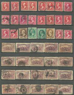 44 US stamps Sc# 267 - 2¢ Washington, # 209 - 10¢ Jeffer, # 231 - 2¢ Landing of