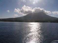 Incredible view of Mt. Nevis with the cloud caps on the town ferry boat travelling from Basseterre, St.Kitts