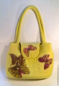 Купить Сумка валяная Бабочки - повседневная сумка, лимонная сумка, сумка с бабочками, бабочки