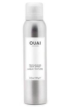 Free shipping and returns on OUAI Texturizing Hair Spray at Nordstrom.com. This ultra-lightweight hairspray combines the effects of a dry shampoo and a hairspray, creating a single formula that builds incredible volume and texture in your hair. Its formula is packed with volcanic minerals to absorb oil and refresh your strands.How to use: Shake well. Hold the bottle six inches from your head then mist dry hair from roots to ends. For ultimate volume, flip your hair upside down and spray.