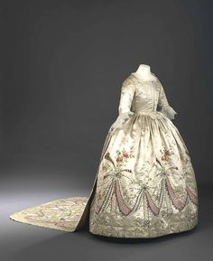 Full View of Court Dress & Train said to have been made for Marie Antoinette by Rose Bertin.