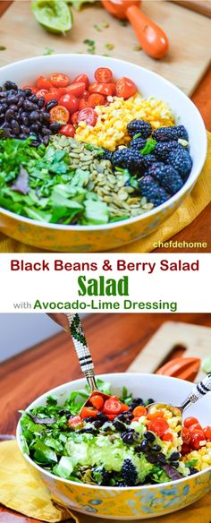 Mexican Black Beans and Berry Salad with Zesty Avocado Lime Dressing Vegan and Gluten free #saladforlunch #eathealthy | chefdehome.com
