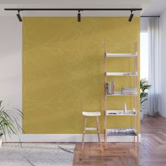 # home decoration art # wallmural de Yellow Interior, Yellow Walls, Ladder Bookcase, Gifts For Teens, Unique Home Decor, Color Trends, Pantone, Window Treatments, Wall Murals