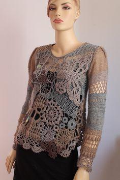 SALE 30% OFF Art to wear Freeform Crochet Knitting by levintovich