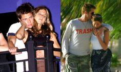 Jennifer Aniston and Brad Pitt. good old days.  Anguilla, 2005. Kissing goodbye