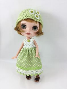 Made For Blythe and Pullip Dolls Green and White Polka Dot Dress and Hand Knit Hat