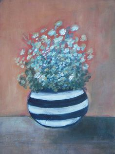 "Meadow Flowers in Vase - Original Acrylic Painting - striped vase - Still Life painting on watercolor paper  - 9""x12"""
