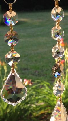 Crystal Suncatcher with smoky topaz accent crystals 3 Strand image 3 Glass Wind Chimes, Diy Wind Chimes, Capiz Shell Chandelier, Chandeliers, Wind Charm, Victorian Chandelier, Smoky Topaz, Rainbow Crafts, Diy Jewelry Inspiration
