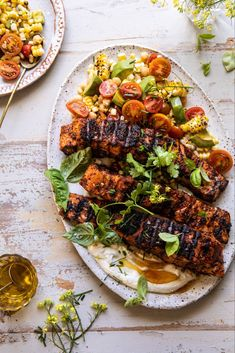 Lemon Parmesan Salmon with Corn, Tomato, and Avocado Salad. Lemon Parmesan Salmon with Corn, Tomato, Easy Summer Meals, Summer Recipes, Healthy Dinner Recipes, Healthy Snacks, Healthy Eating, Simple Meals, Healthy Dinners, Healthy Cooking, Cooking Tips