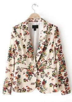 Beige Notch Lapel Long Sleeve Floral Blazer