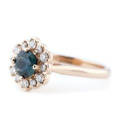 A blue green sapphire rose gold engagement ring custom made with vintage inspired feel in a romantic rose gold floral design by Denver custom jeweler Abby Sparks Jewelry. Floral Engagement Ring, Designer Engagement Rings, Diamond Engagement Rings, Vintage Rose Gold, Green Sapphire, Alternative Engagement Rings, Garnet Rings, Unique Rings, Ring Designs