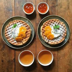 Instagram media symmetrybreakfast - Thursday: Orange and poppyseed waffles with Seville and Campari marmalade and a cup of Earl Grey ☕️ ------------------------------ An ode to orange, a citrus celebration or the zesty zeitgeist?  #symmetrybreakfast