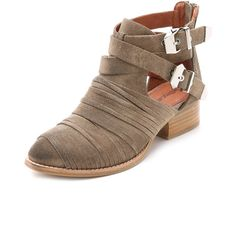 Jeffrey Campbell Nuestra Suede Booties ($180) ❤ liked on Polyvore featuring shoes, boots, ankle booties, taupe, taupe suede ankle booties, taupe boots, cut-out boots, distressed boots and ankle strap booties