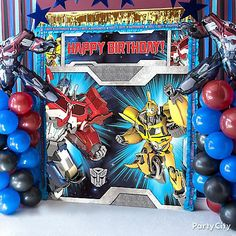 Transformers Hand out Masks Idea - Dress Up Ideas - Transformers Party Ideas - Boys Birthday Party Ideas - Birthday Party Ideas - Party Ideas - Party City Transformers Birthday Parties, 4th Birthday Parties, Birthday Diy, Birthday Ideas, Birthday Recipes, Birthday Wishes, Transformer Birthday, Birthday Balloon Decorations, Frases