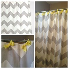 {boys bathroom} Grey chevron shower curtain with yellow bows added :). Cuteness! And I could change the color