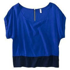 Xhilaration® Juniors Boxy Top with Back Zipper - Assorted Colors.Opens in a new window