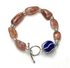 Sunstone Boho Chic Chunky Beaded Bracelet Lapis  Designer