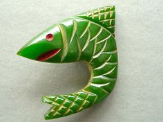 Bakelite Carved Fish Sewing Button Shark - Love this.