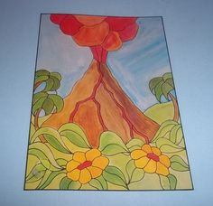 Volcano & Flowers Stained Glass Window Pattern New in Package Hidden House #HiddenHouse