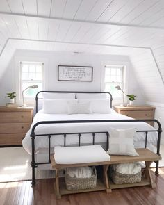 We love a space with clean lines like @angelarose_diyhome entire home! She takes minimal decor to a whole other level and makes it blend perfect with farmhouse decor! #minimalfarmhousedecor #modernfarmhouse #shiplapbedroom #farmhousestylebedroom Find home decor items to create your perfect cozy corner at www.decorsteals.com