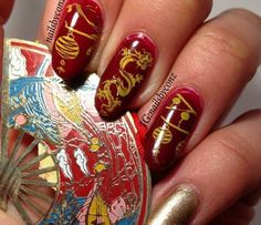 Chinese New Year Nails New Years Nail Art, New Years Eve Nails, New Year's Nails, Fun Nails, Asian Nails, Nail Polish Art, Daily Nail, Beautiful Nail Art, Holiday Nails