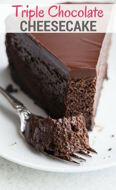 Triple Chocolate Cheesecake with an Oreo crust and a rich chocolate glaze is a decadent dessert that is ultra creamy and smooth. #chocolate #cheesecake #dessert via @introvertbaker
