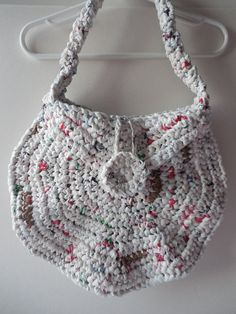Crochet Purse  Plarn  White  Handmade  by ShelleysCrochetOle