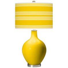 Citrus Bold Stripe Ovo Table Lamp - #X1360-X8906-X9702 | LampsPlus.com