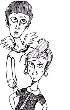 """""""Guardian angel"""" by Anya Katamari   #illustration #katamariart #handdraw #graphics #black #white #boy #girl #anyakatamari"""