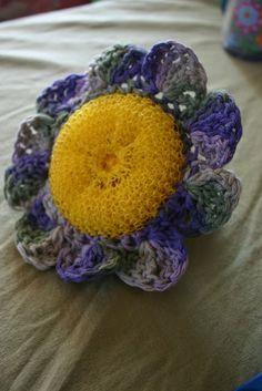 Crochet Flower Scrubby Materials: Cotton Crochet Thread Size J Crochet Hook  Nylon Dish Scrubby   Pattern...