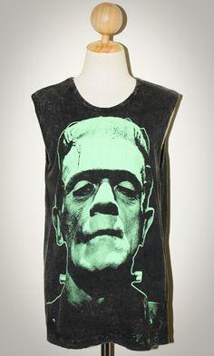 Frankenstein Bleached T Shirt Black Sleevless Tank Top Women Hip Hop Indie Art Rock Size M