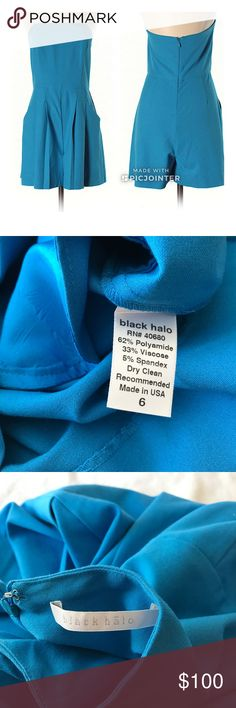 """Black Halo Blue Rihanna Romper Sz 6 Short Strapless Blue  26"""" Length 62% Polyamide, 33% Viscose, 5% Spandex In excellent used condition Black Halo Pants Jumpsuits & Rompers"""