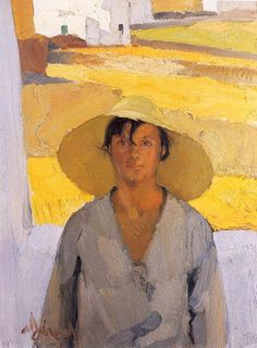 The Straw Hat, 1925 by Nikolaos Lytras, National Art Gallery, Athens Painting People, Figure Painting, Painting & Drawing, Coin D'art, Greek Paintings, Figurative Kunst, Art Antique, Art Corner, Ouvrages D'art