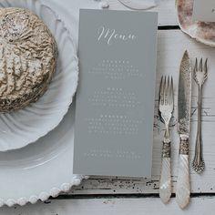 Grey wedding menu card featuring calligraphy fonts.