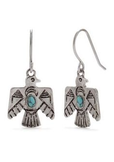 Chaps  Firebird Turquoise Drop Earrings