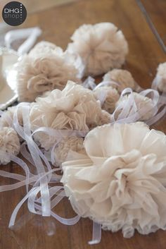 Pretty pom pom in silk chiffon. Wedding DHG style! Visit our website and enjoy DHG sweet wedding table. So perfect for your wedding italian style.  http://www.dyeinghousegallery.com/en/dhg-style-wedding/