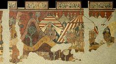 La conquista de Palma de Mallorca por las tropas de Jaime I de Aragón (finales s. XIII). En su origen decoraba los muros del palacio de Berenger d'Aguilar, hoy en el Museo Nacional de Arte de Cataluña. Es un ejemplo relevante de la pintura catalana del primer gótico.