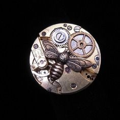 B320  bague steampunk   abeille  vintage  retro  jules verne
